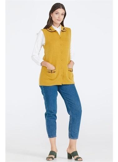 Sementa Kadın Cepli Düğmeli Triko Yelek - Güneş Sarı